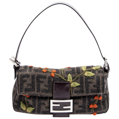 Fendi Limited Edition Floral FF Wool Baguette