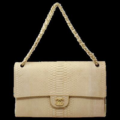 Chanel Beige Python Jumbo Flap Bag