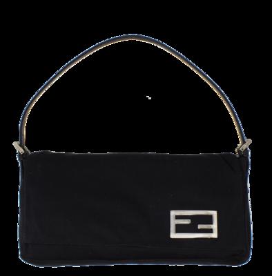Fendi Black FF Logo Plate Pochette