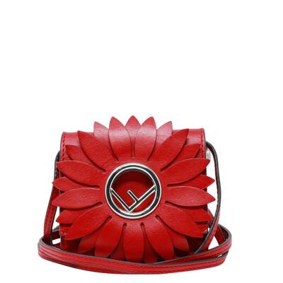Fendi 2017 Runway Red Micro Kan 1 Flower Crossbody