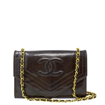 Chanel Brown Lizard Envelope Flap Bag