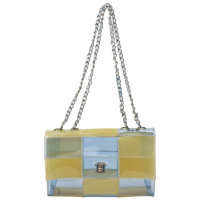 Chanel Baby Blue PVC Small Patchwork Flap Bag