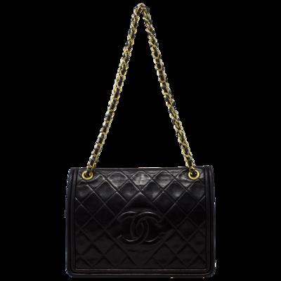 Chanel Black CC Border Full Flap Bag