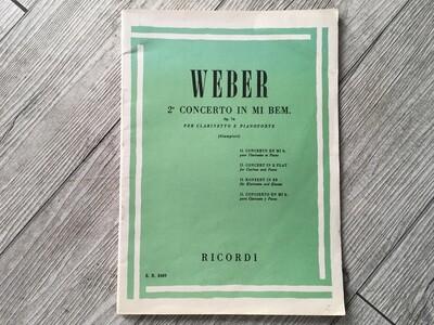 WEBER - 2 concerto in MIb per clarinetto e pianoforte Op. 74