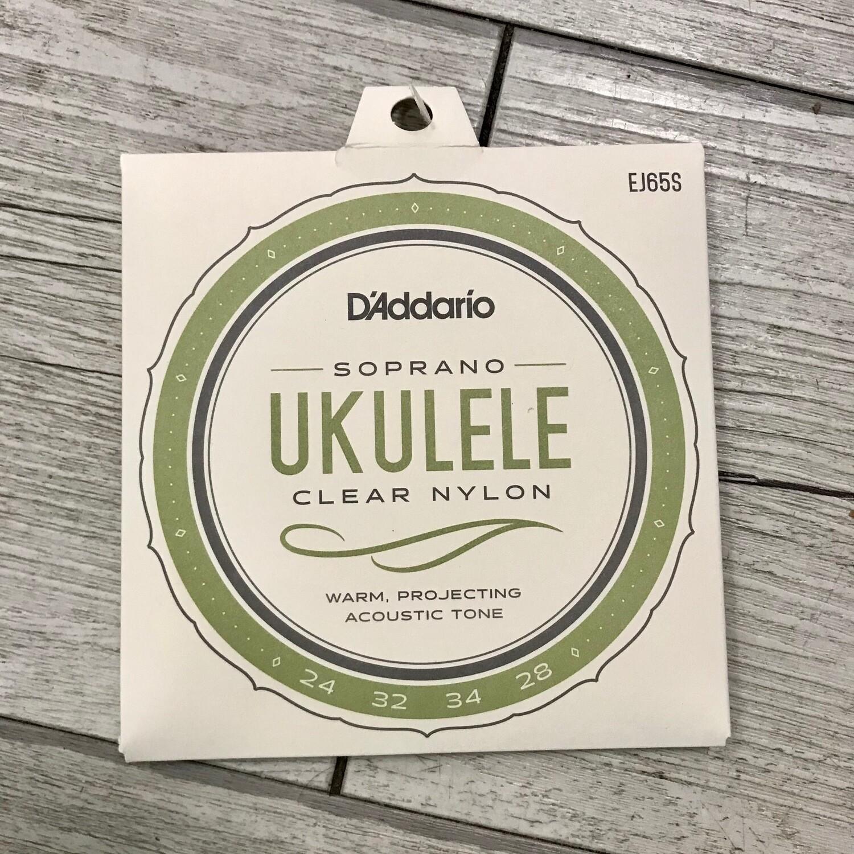 D'ADDARIO J65S - Ukulele Soprano Clear Nylon 24/28
