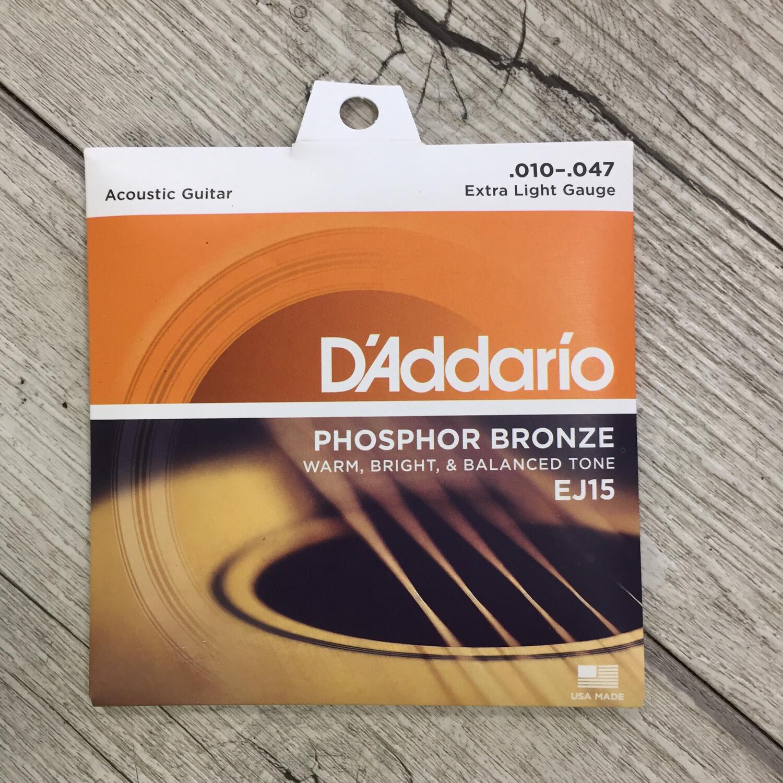 D'ADDARIO EJ15 - Extra light gauge phosphor bronze 10/47