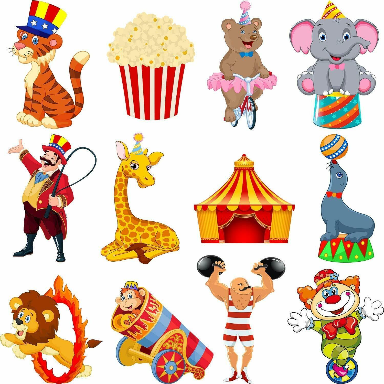 Zonon 24 Pieces Carnival Cutouts Party Supplies, Circus Theme