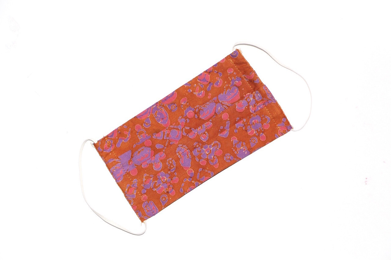 Kids Batik Face Mask - Orange/Purple Flowers