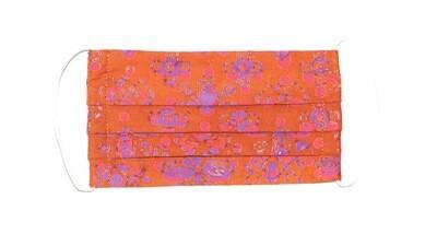 Reusable Batik Face Mask - Orange/Purple Flowers