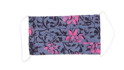 Reusable Batik Face Mask - Grey/Pink