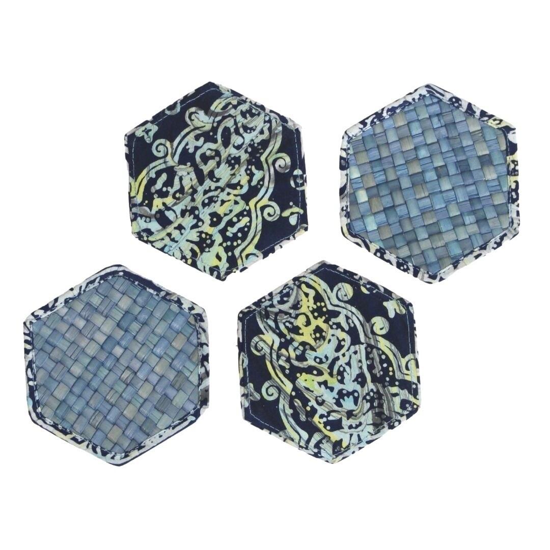 Reversible Mengkuang & Batik Coasters (Blue Marble - Set of 4)
