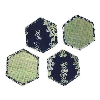 Reversible Mengkuang & Batik Coasters (Sage Kepala - Set of 4)