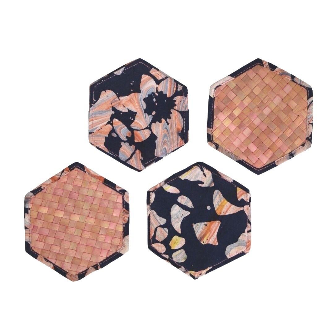 Reversible Mengkuang & Batik Coasters (Coral Marble - Set of 4)