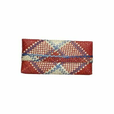 Mengkuang Sumpit Clutch - Natural Red with Blue Lines