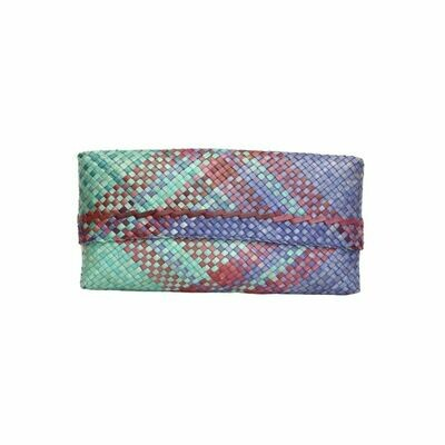Mengkuang Sumpit Clutch - Tropical Ocean with Red Stripes