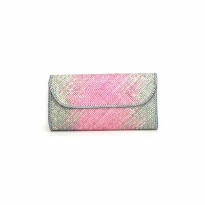 Exclusive Finely-Woven Kelarai Clutch - Pink Ombre with Grey Touch