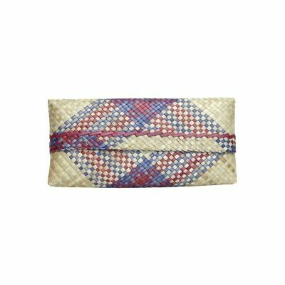 Mengkuang Sumpit Clutch - Natural with Blue & Red Touch