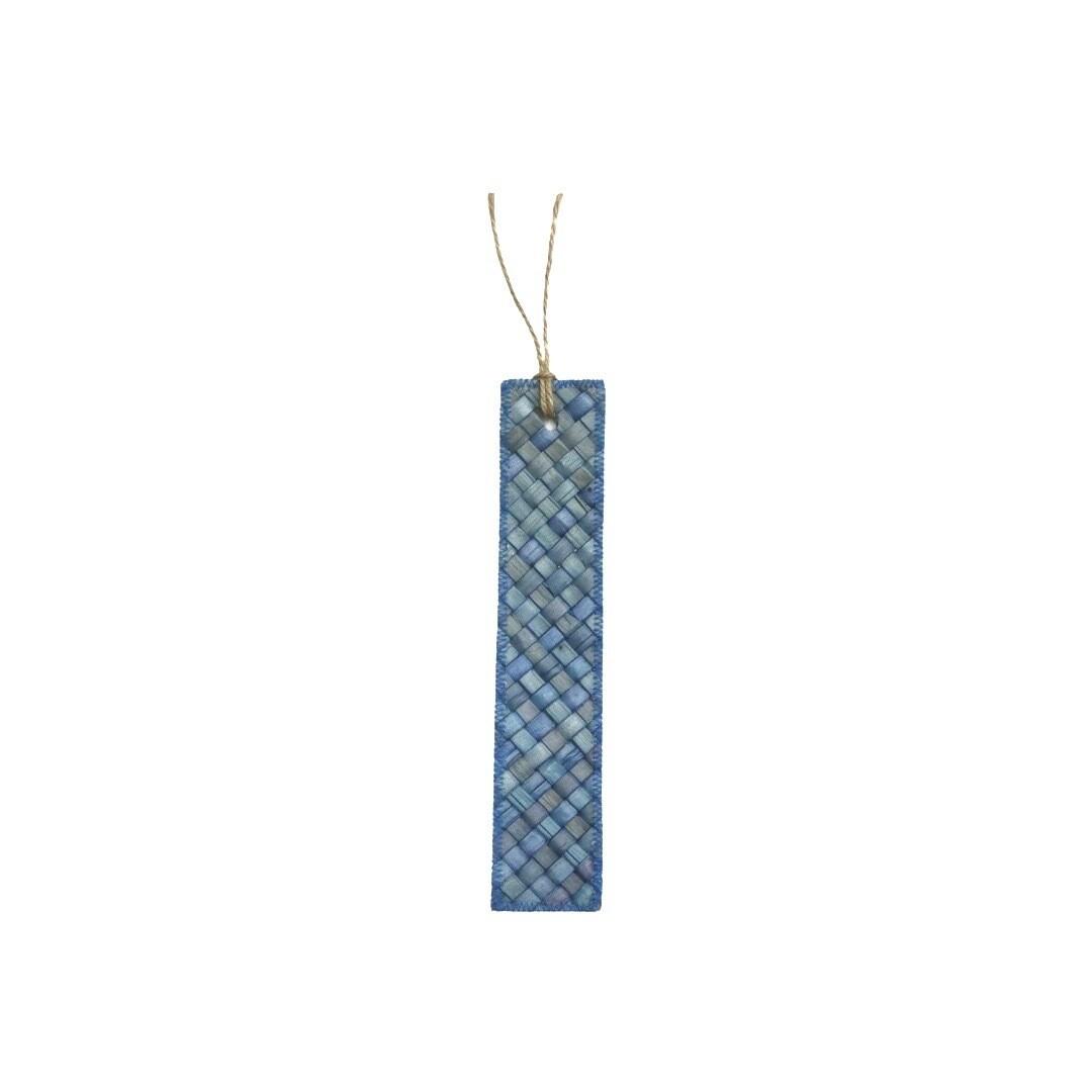 Mengkuang & Batik Bookmark - Blue on Blue