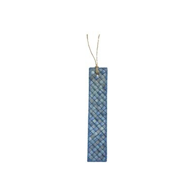 Mengkuang & Batik Bookmark - Blue on Blue