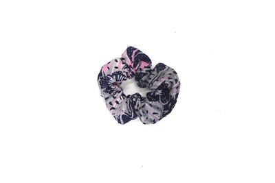 Batik Scrunchie - Grey and Pink