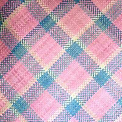 Soulful Pink with Blue Stripes Mengkuang Mat (4ft x 5ft)