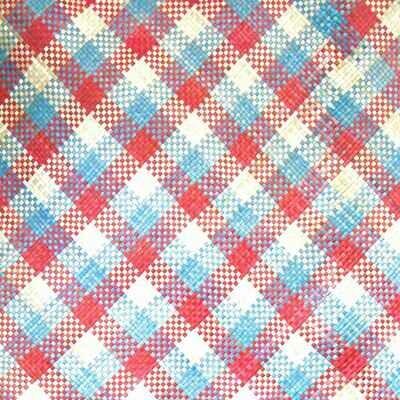 Vibrant Blue & Red Mengkuang Mat (3.8ft x 7ft)