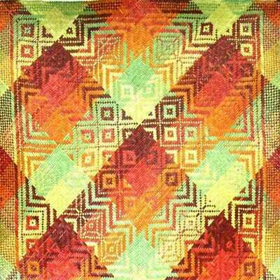 Tropical Colours with Cik Kedah Motif Finely-Woven Kelarai Mat (2ft x 4ft)