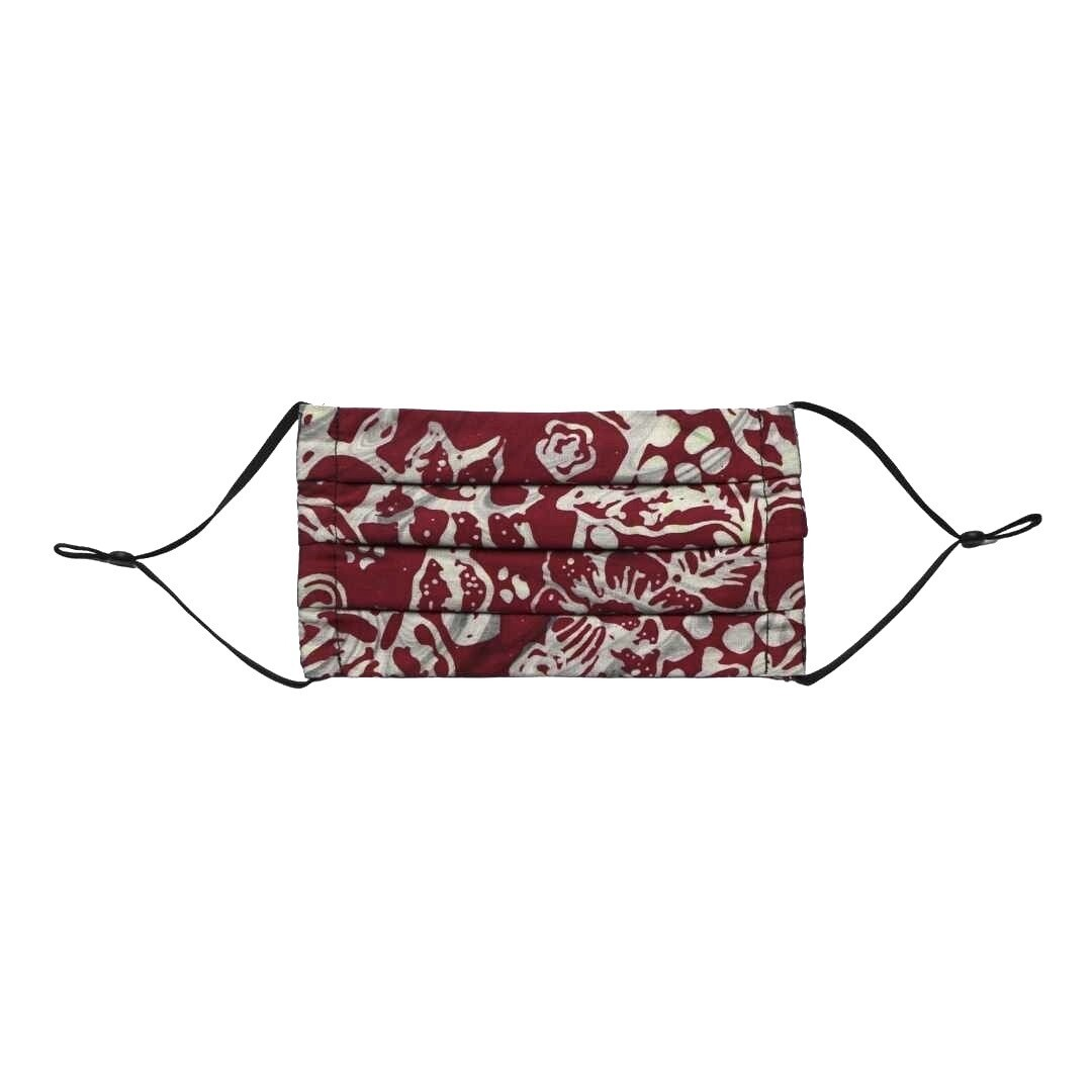 Reusable Batik Face Mask - Marvelous Maroon Flowers