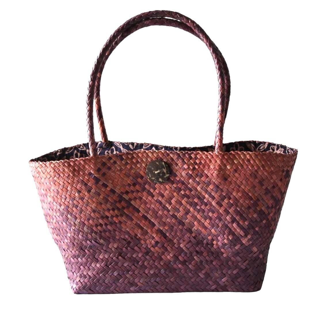 Khadijah Signature Mengkuang Tote Bag - Red Ombre/ Pink Square