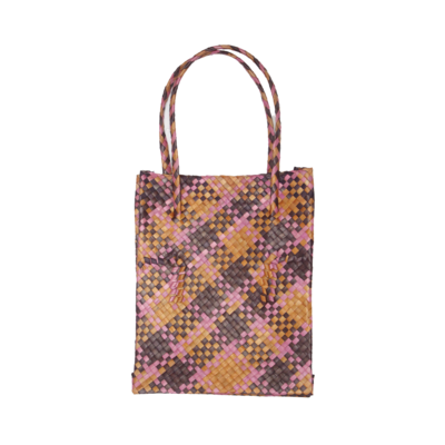 Rustic Mengkuang Tote Bag - Earthy Hues with Pink Stripes