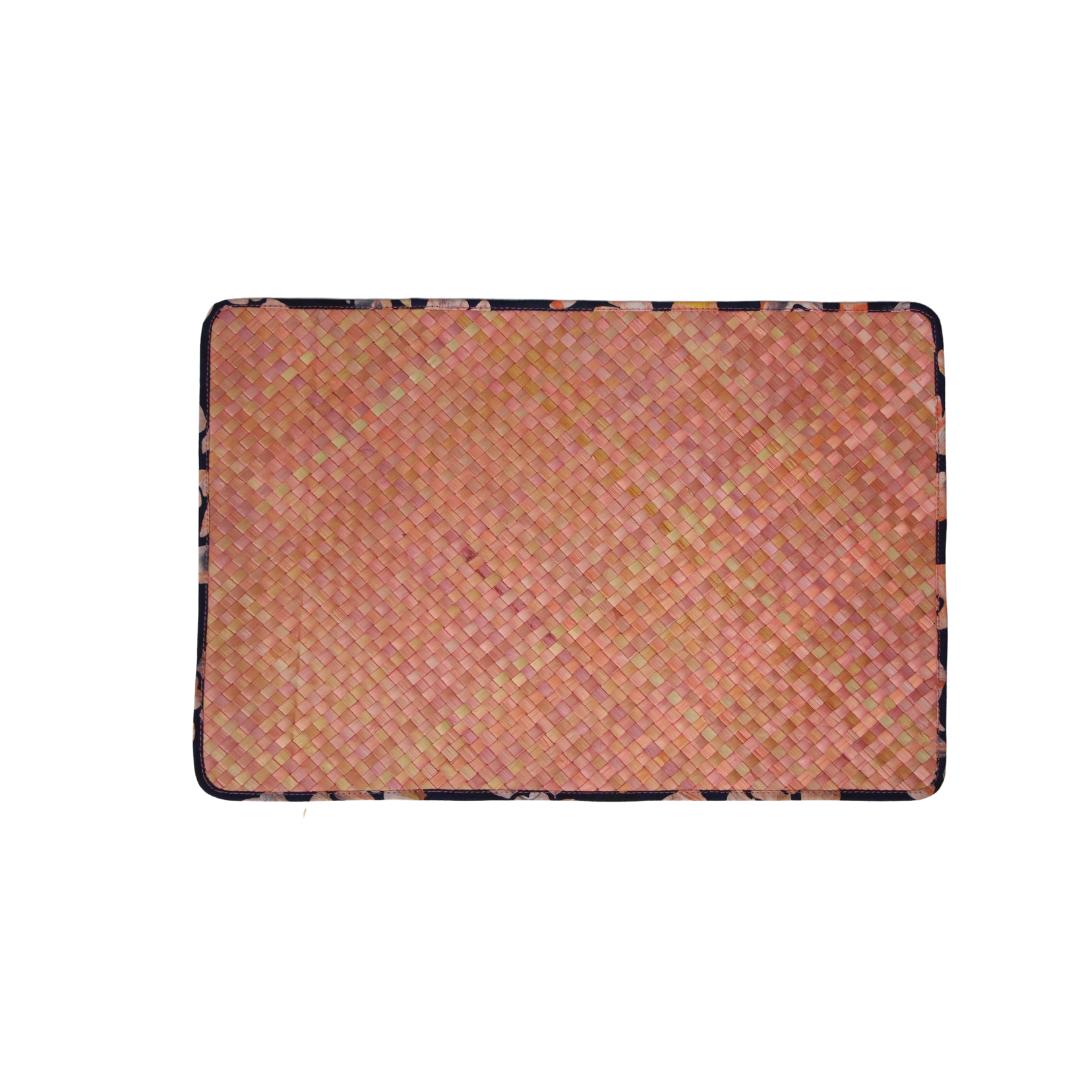 Reversible Mengkuang & Batik Placemats (Soft Pink Marble - Set of 4)