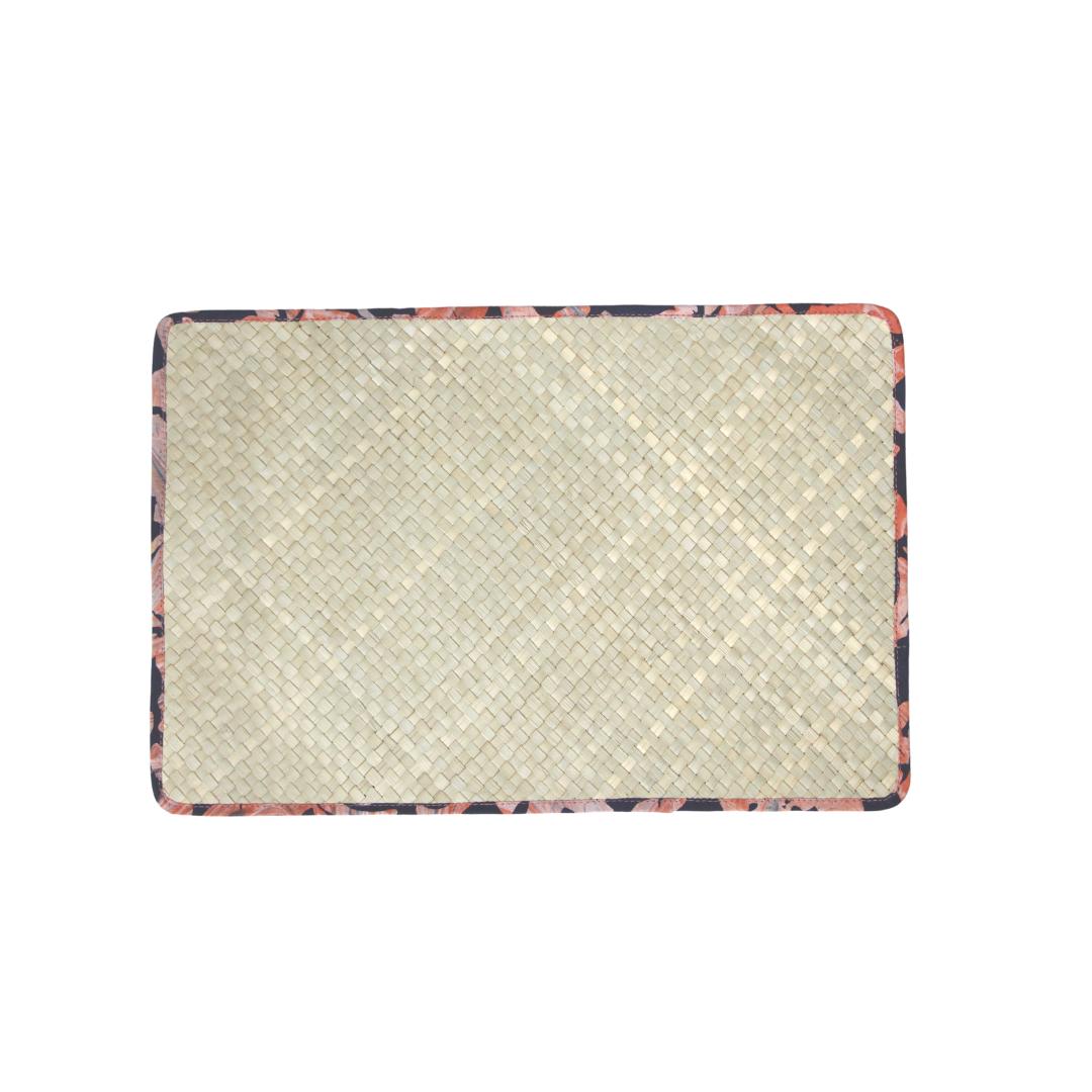 Reversible Mengkuang & Batik Placemats (Natural Pink Marble - Set of 4)