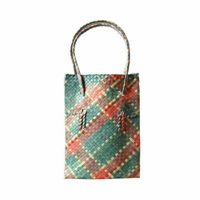 Rustic Mengkuang Tote Bag - Blue Hues with Soft Red Stripes