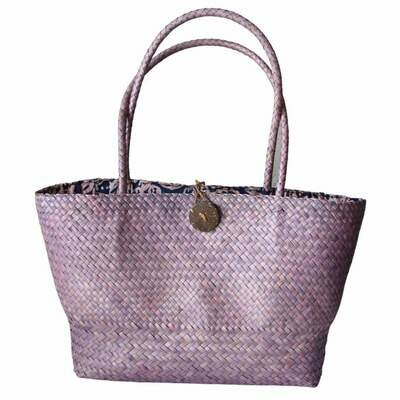 Khadijah Signature Mengkuang Tote Bag - Red Soft Purple