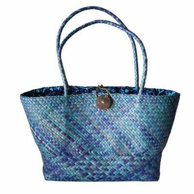 Khadijah Signature Mengkuang Tote Bag - Blue Sky