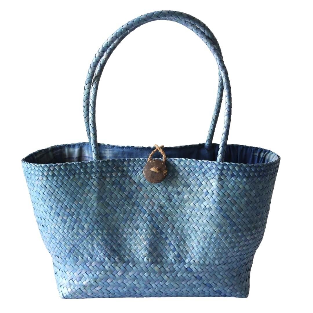 Khadijah Signature Mengkuang Tote Bag - Ocean Blue