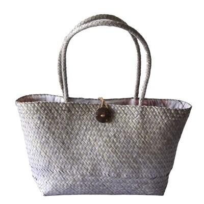 Khadijah Signature Mengkuang Tote Bag - Silver Grey