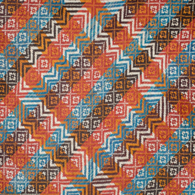 Earthly Tones Blue Stripes with Cik Kedah Motif Finely-Woven Kelarai Mat (3ft x 6ft)