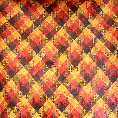 Bold Earthy Colours with Red Stripes Finely-Woven Kelarai Mat (2.5ft x 5.75ft)