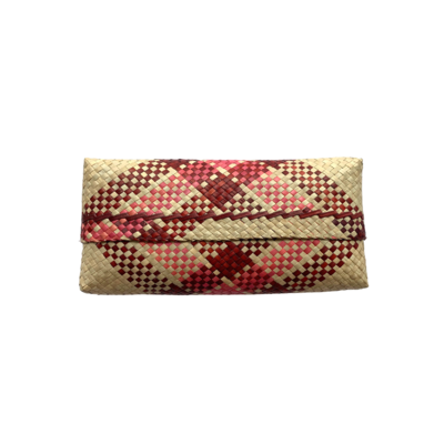 Mengkuang Sumpit Clutch - Natural with Maroon Stripes