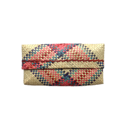 Mengkuang Sumpit Clutch - Natural with Red & Blue Stripes