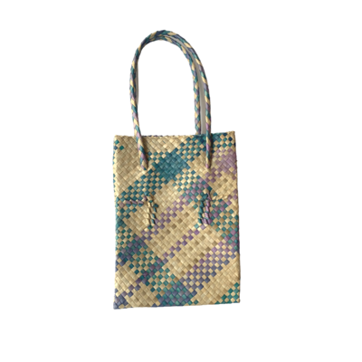 Rustic Mengkuang Tote Bag - Natural with Soft Stripes
