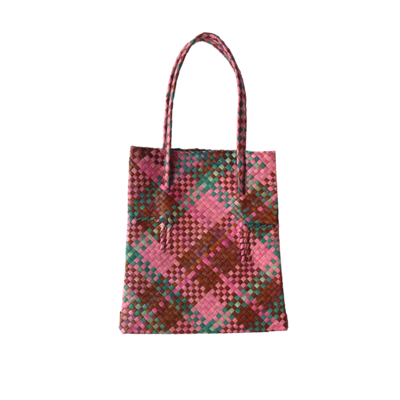 Rustic Mengkuang Tote Bag - Vibrant Hues with Turquoise Stripes