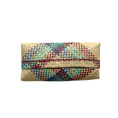 Mengkuang Sumpit Clutch - Natural with Tropical Stripes