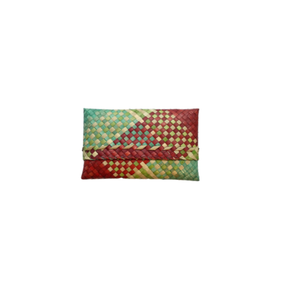 Medium Mengkuang Sumpit Pouch - Red & Turquoise Hues