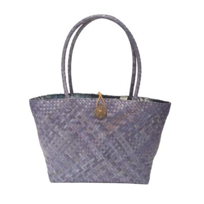 Khadijah Signature Mengkuang Tote Bag - Ash Blue with Dark Blue Batik