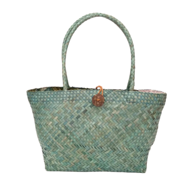 Khadijah Signature Mengkuang Tote Bag - Soft Turquoise with Colourful Abstract Batik