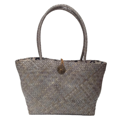 Khadijah Signature Mengkuang Tote Bag - Rustic Grey with Geometric Batik