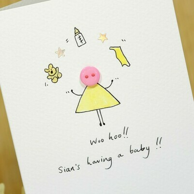 Button Baby Shower Personalised Card