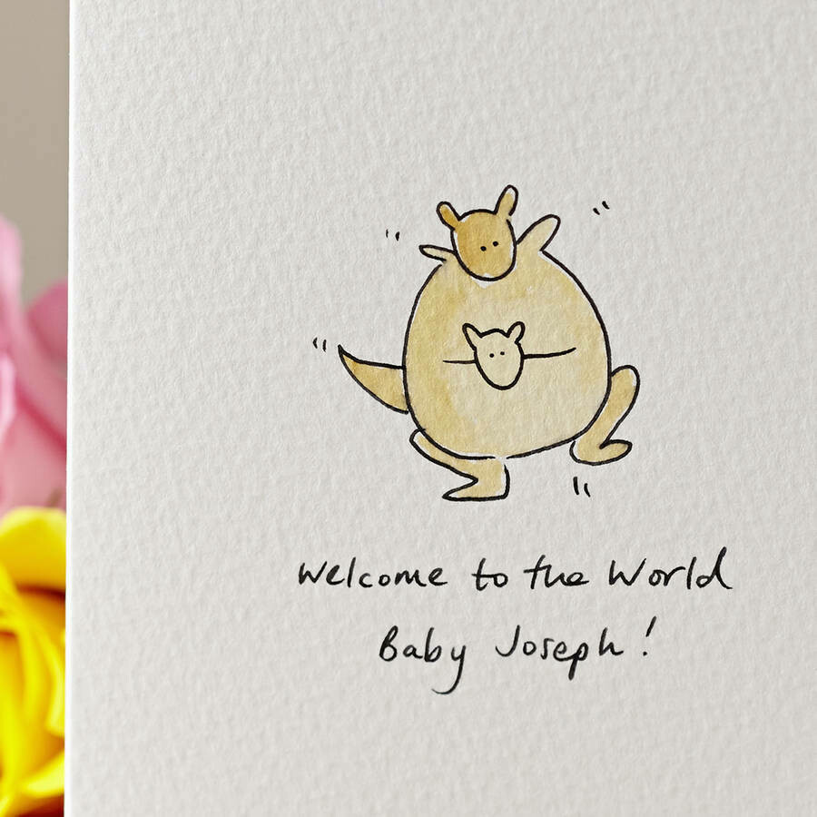 Kangaroo New Baby Personalised Card